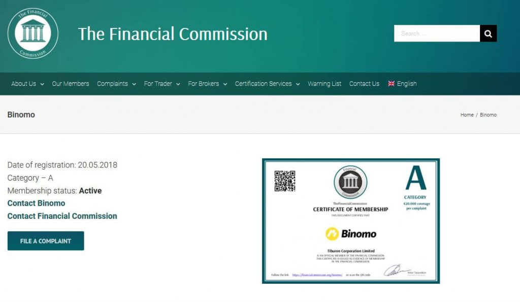 binomo seguro financial commission