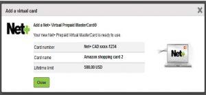 Cartão virtual pré-pago Neteller