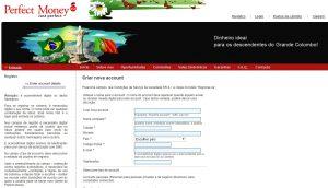 Abrindo uma conta Perfect Money no Brasil