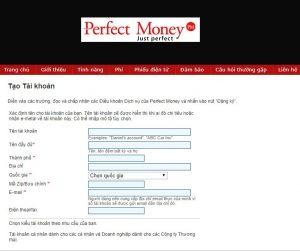 Mở tài khoản Perfect Money từ Việt Nam