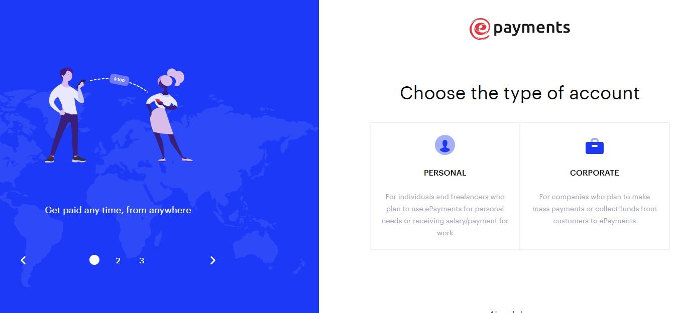 Mở tài khoản ePAYMENT từ một quốc gia được hỗ trợ