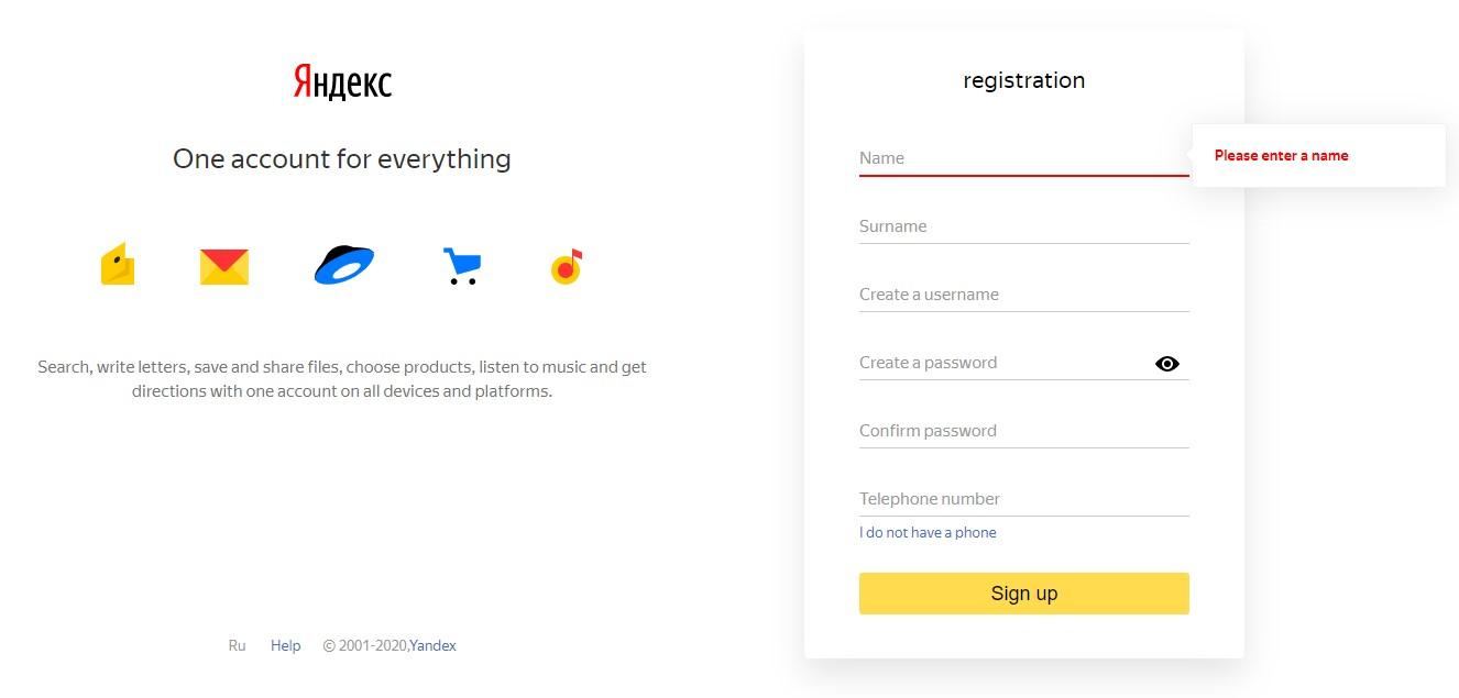 Mở tài khoản Yandex Money từ một quốc gia được hỗ trợ