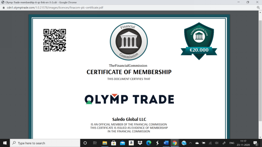 olymp trade financial commision certificate