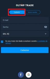Criar uma nova conta pelo app móvel