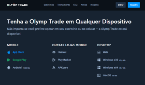 Entrar Olymp Trade conta através do PC ou aplicativo móvel