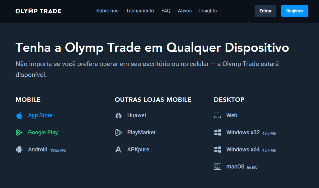 Entrar Olymp Trade conta através do PC ou aplicativo móvel