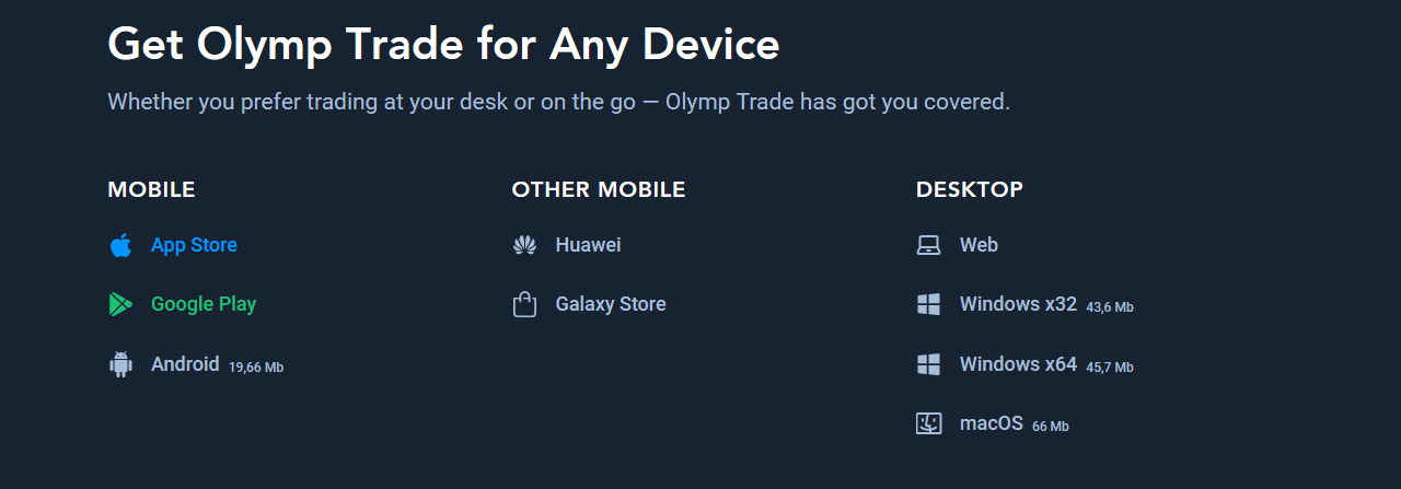 olymp trade devices